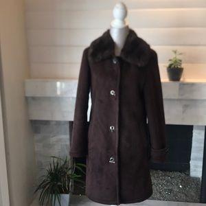 Donnybrook Vintage Faux Fur Trim Coat S EUC